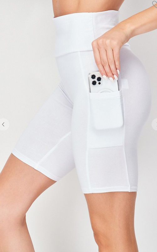 Cute cheap high waist knit bike shorta with phone pocket