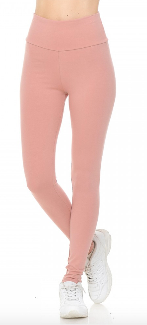 Cute cheap high waist knit leggings fold over waist band
