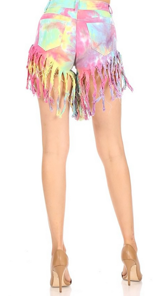 Cute cheap high waist tie dye fringed denim shorts