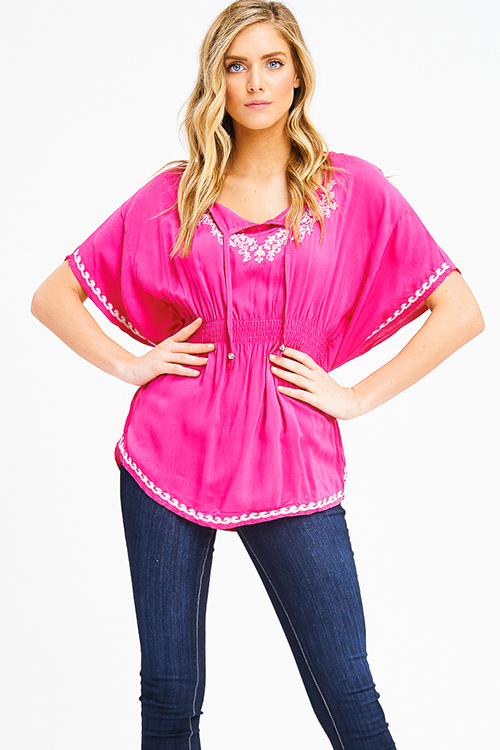 Cute cheap hot pink embroidered smocked waist butterfly sleeve boho peasant party blouse top