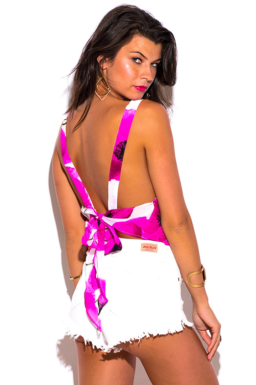 Cute cheap hot pink floral print white sheer chiffon backless bow tie beach cover up tank top