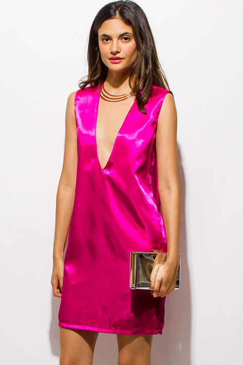 Cute cheap hot pink satin deep v neck backless cocktail party shift mini dress
