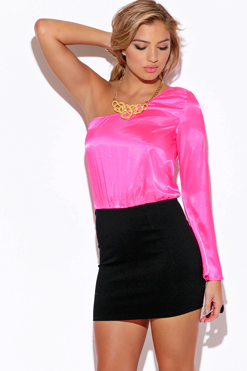 Shop Pink Satin One Shoulder Bell Sleeve Pencil Cocktail