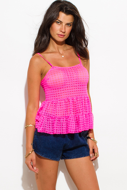 Cute cheap hot pink sheer lace tiered spaghetti strap beach cover up party tank top
