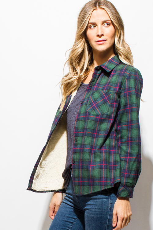 Cute cheap hunter green checker plaid fleece lined long sleeve button up flannel top