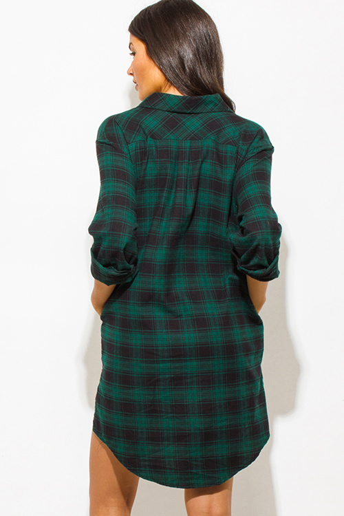 Cute cheap hunter green cotton button up long sleeve checker plaid flannel tunic blouse top mini dress