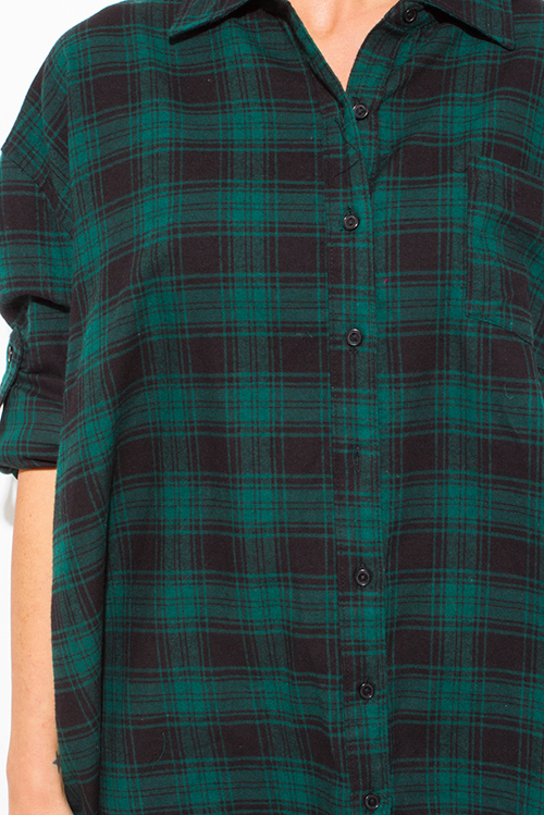 Cute cheap hunter green cotton button up long sleeve oversized checker plaid flannel tunic top