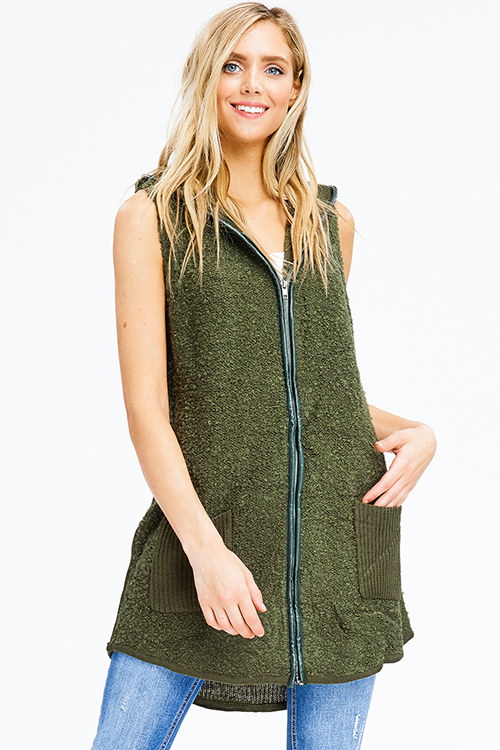 Cute cheap hunter green fuzzy sweater knit hooded pocketed zip up long cardigan vest