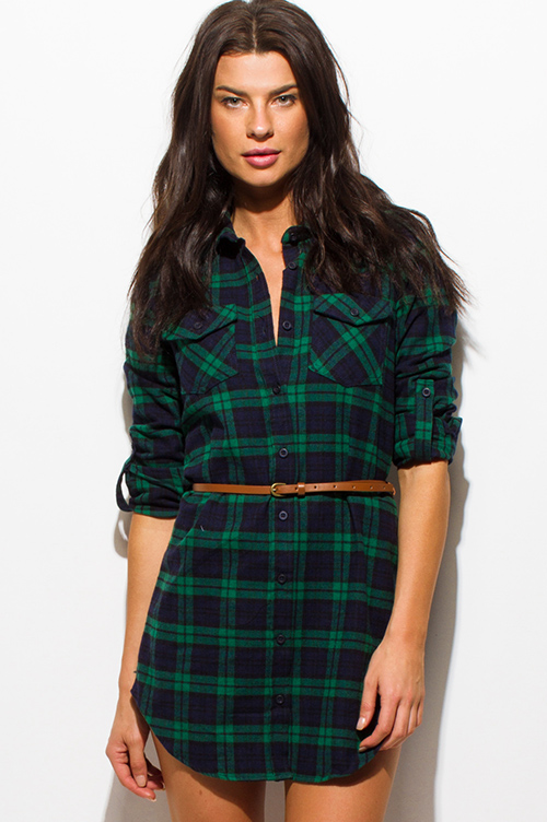 Cute cheap hunter green plaid flannel button up long sleeve belted tunic mini shirt dress