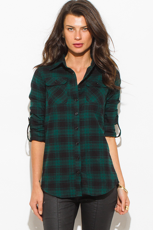 Womens Red Plaid Flannel Shirt