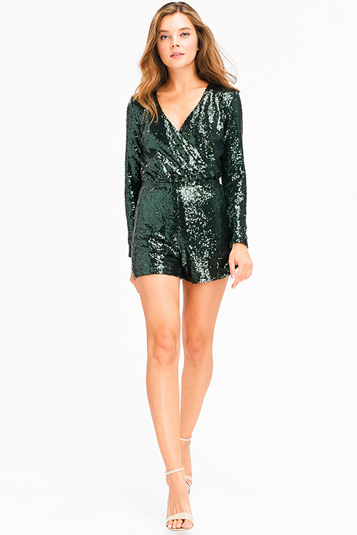 Cute cheap Hunter green sequined metallic long sleeve faux wrap cut out back club party romper playsuit jumpsuit