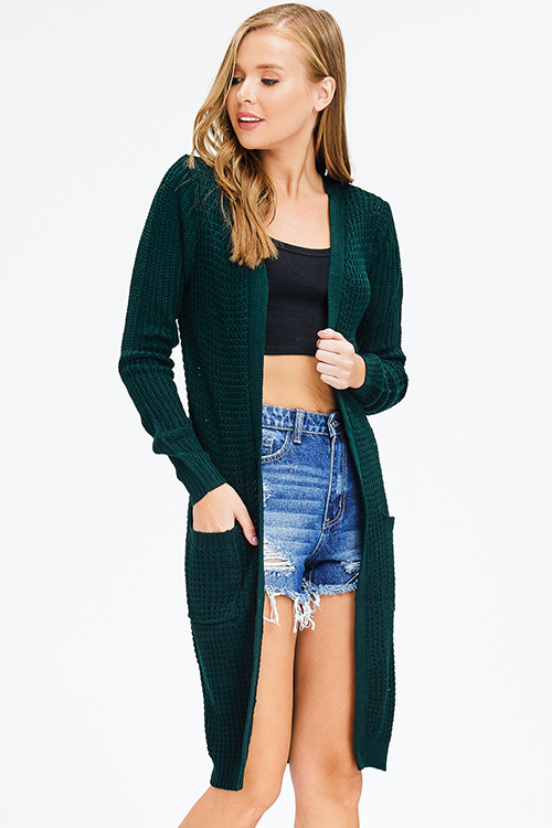 Cute cheap hunter green waffle knit long sleeve open front pocketed boho sweater duster cardigan