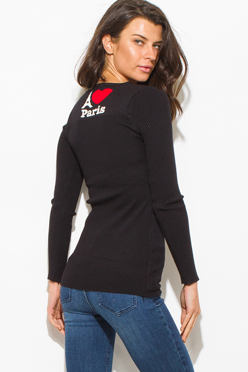 Cute cheap i love paris black cotton blend graphic contrast long sleeve ribbed sweater knit top