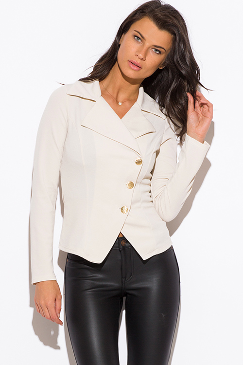 RED ASYMMETRICAL GOLDEN BUTTON FITTED BLAZER JACKET | Womens ...