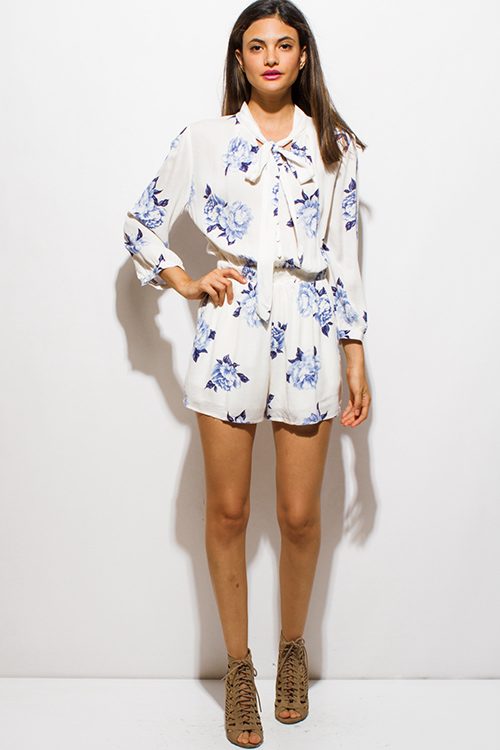 Cute cheap ivory beige blue floral print quarter sleeve tie kneck pocketed boho romper playsuit jumpsuit