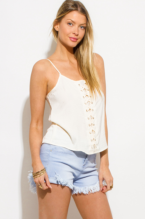 Cute cheap ivory beige crinkle satin laceup front boho party tank top