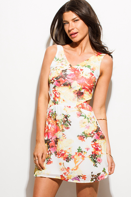 Cute cheap ivory beige floral print cut out sleeveless backless skater cocktail mini dress