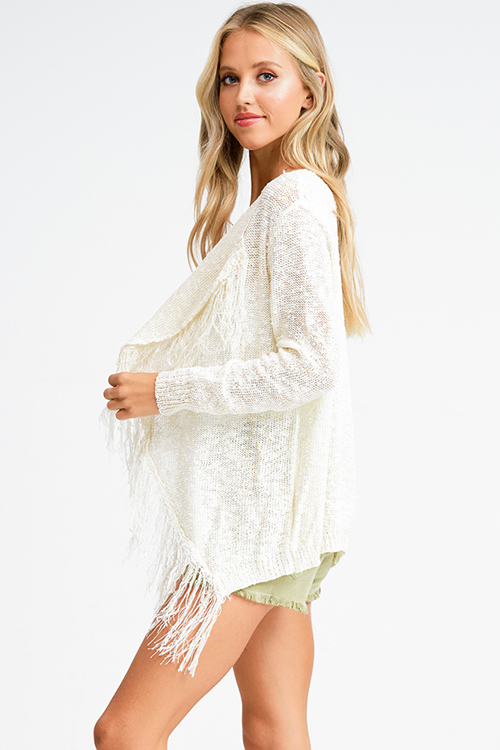 Cute cheap Ivory beige knit waterfall fringe trim open front boho sweater cardigan