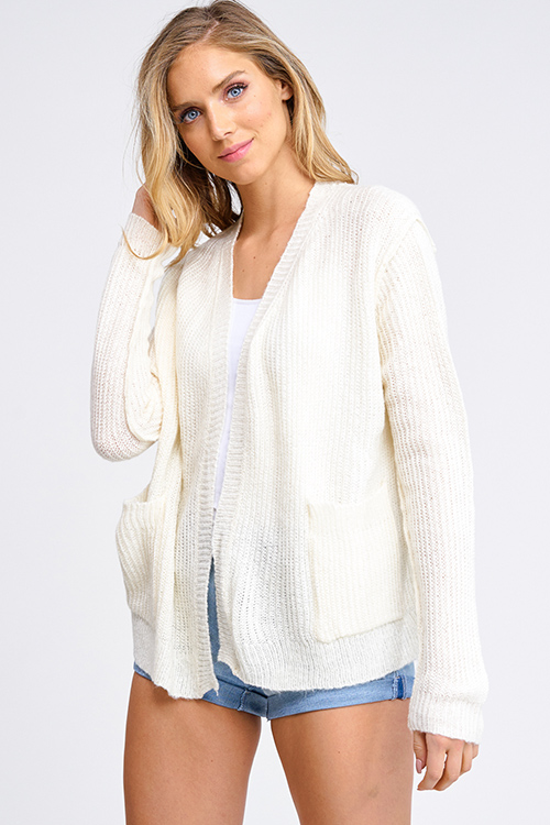 Cute cheap Ivory beige long sleeve exposed stitch pocketed open front sweater cardigan