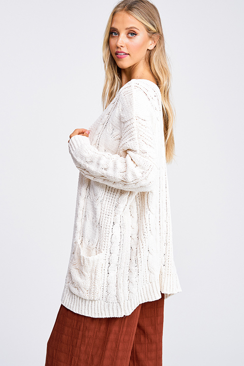 Cute cheap Ivory chenille chunky cable knit open front pocketed boho sweater cardigan