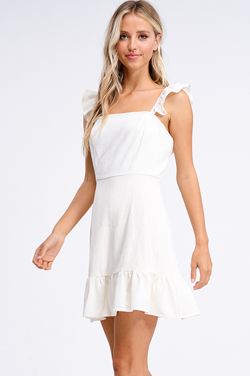 Cute cheap Ivory cream beige linen ruffle strap a line boho mini sun dress