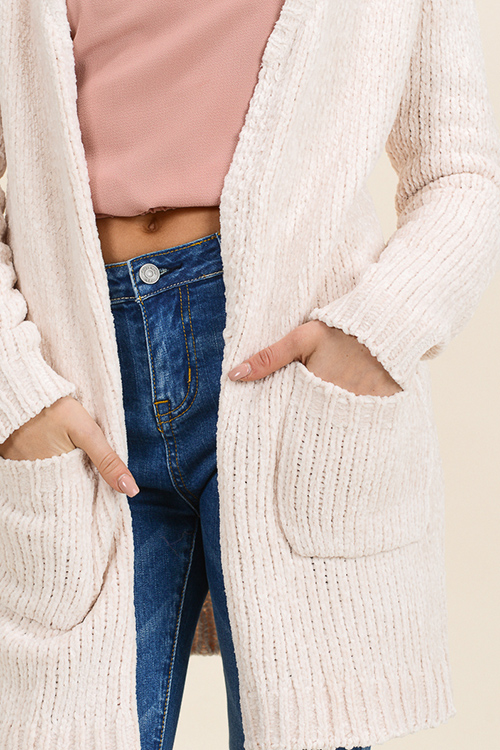 Cute cheap Ivory cream chenille knit long sleeve pocketed open front boho long cardigan