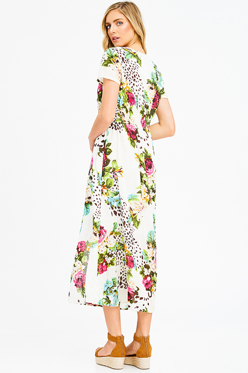 Cute cheap ivory multicolor floral print cotton short sleeve button up slit front boho maxi sun dress