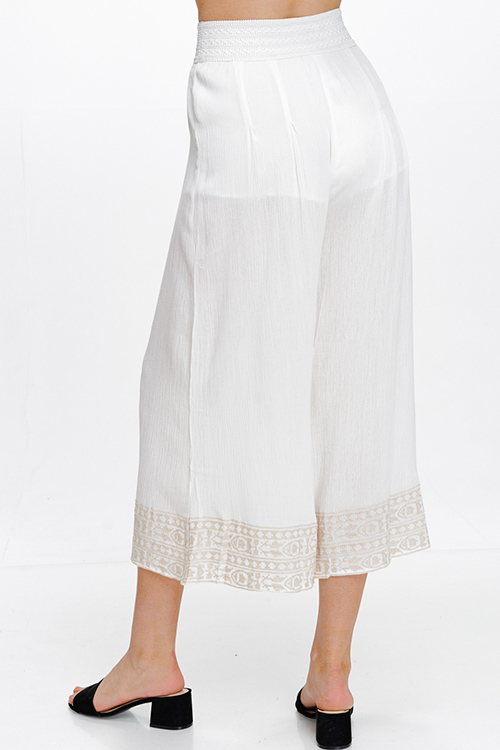Cute cheap Ivory white banded high waisted wide leg embroidered hem boho resort palazzo pants