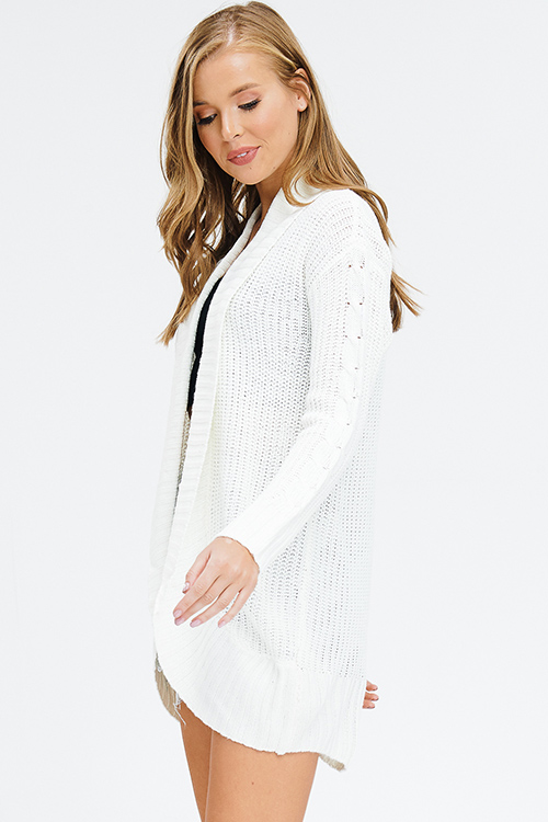 Cute cheap ivory white cable knit long sleeve open front sweater knit boho shawl cardigan