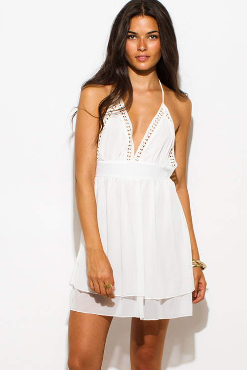 Cute cheap ivory white chiffon crochet trim sweetheart babydoll halter backless tiered boho mini sun dress