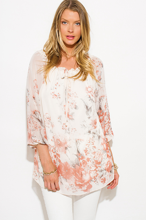 Cute cheap ivory white chiffon floral print quarter blouson sleeve boho blouse tunic top