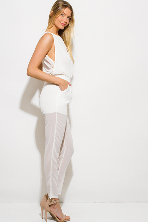 Cute cheap ivory white chiffon golden chain embellished pocketed clubbing jumpsuit
