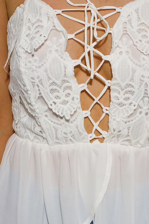Cute cheap ivory white crochet laceup chiffon layered strapless peplum party top