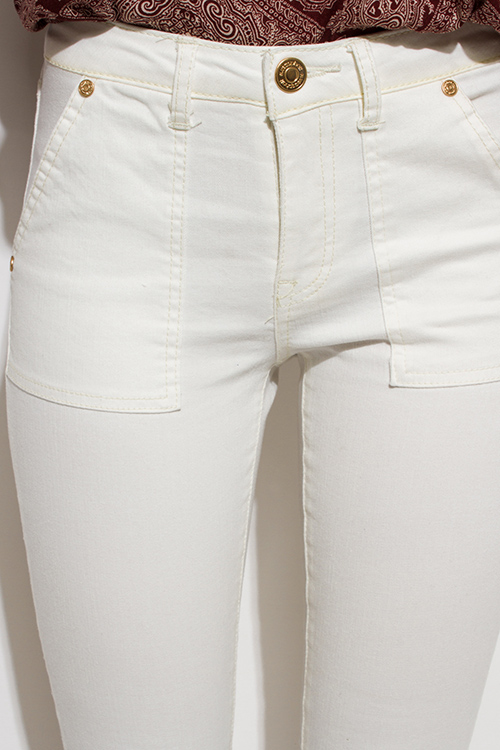 Cute cheap ivory white denim mid rise basic pocketed cropped capri skinny fit jeans