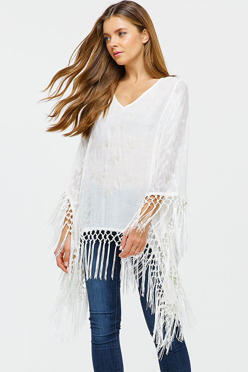 Cute cheap Ivory white embroidered knit contrast long sleeve tassel fringe trim boho poncho top