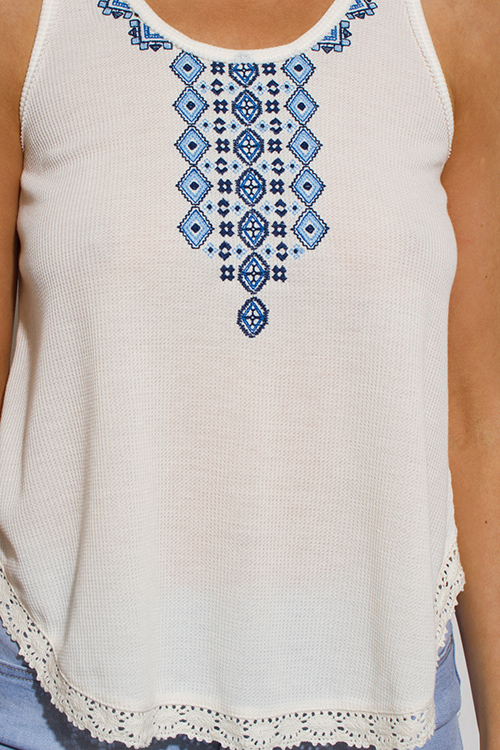 Cute cheap ivory white embroidered laceup caged back boho peasant tank top
