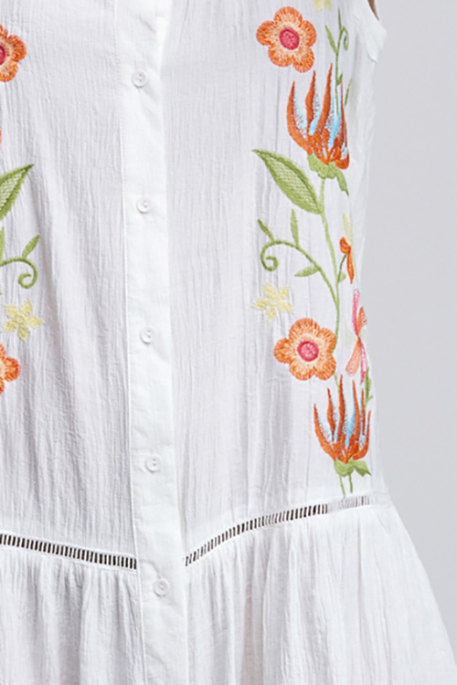 Cute cheap Ivory white embroidered sleeveless button up tiered ruffle hem boho swing mini sun dress