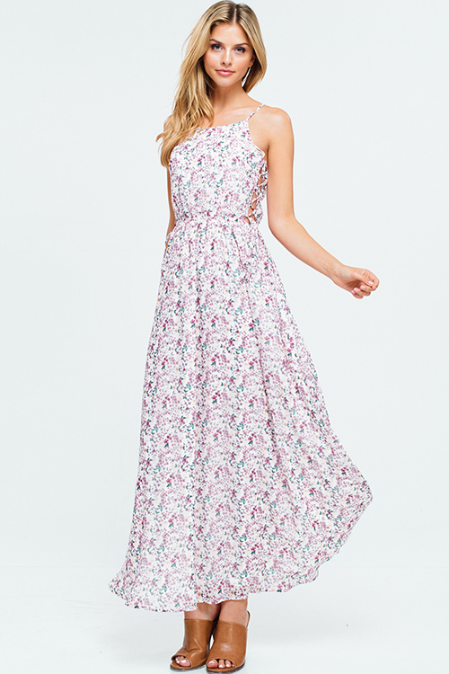 Cute cheap Ivory white floral print halter neck cut out caged laceup side boho evening maxi sun dress