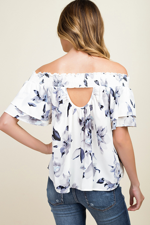 Cute cheap Ivory white floral print off shoulder tiered short sleeve cut out back boho top