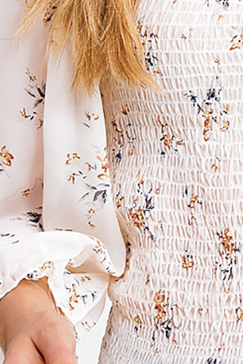 Cute cheap Ivory white blush floral print smocked chiffon quarter puff sleeve boho blouse top