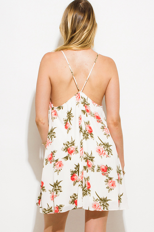 Cute cheap ivory white floral print sweetheart deep v neck boho mini sun dress
