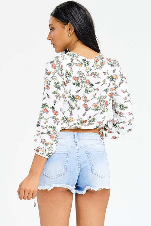 Cute cheap ivory white floral print textured tie neck quarter sleeve boho crop top