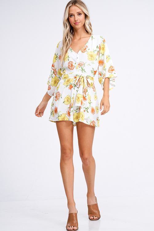 Cute cheap Ivory white floral print v neck short kimono sleeve tie waist boho romper playsuit jumpsuit