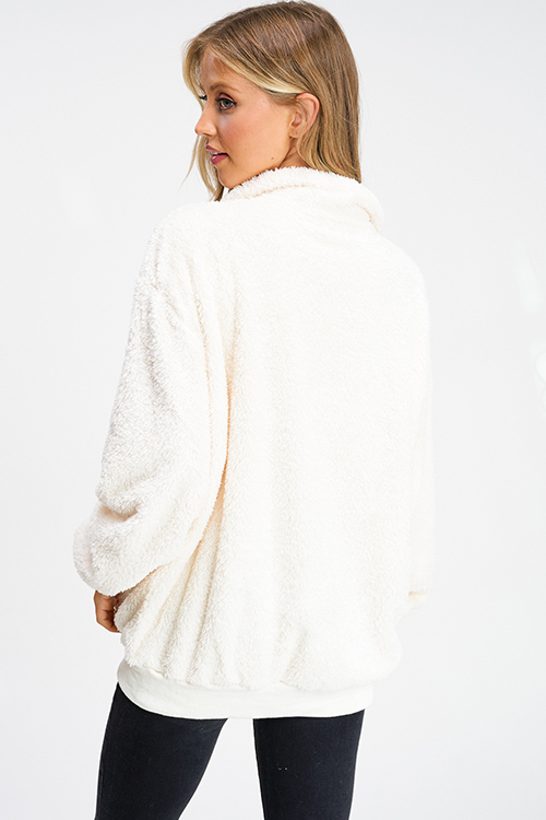 Cute cheap ivory white fuzzy fleece long sleeve quarter zip pocketed pullover teddy jacket