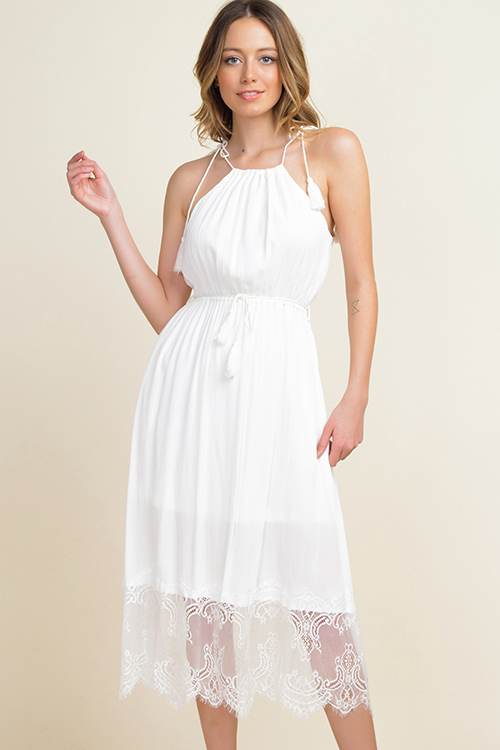 Cute cheap Ivory white halter tie waist lace hem pocketed boho party midi dress
