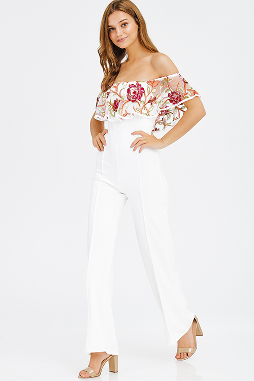 Cute cheap ivory white heavy crepe floral embroidered mesh ruffle tiered off shoulder formal evening jumpsuit