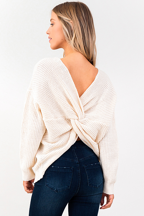 Cute cheap ivory beige knit long sleeve v neck twist knotted back boho sweater top