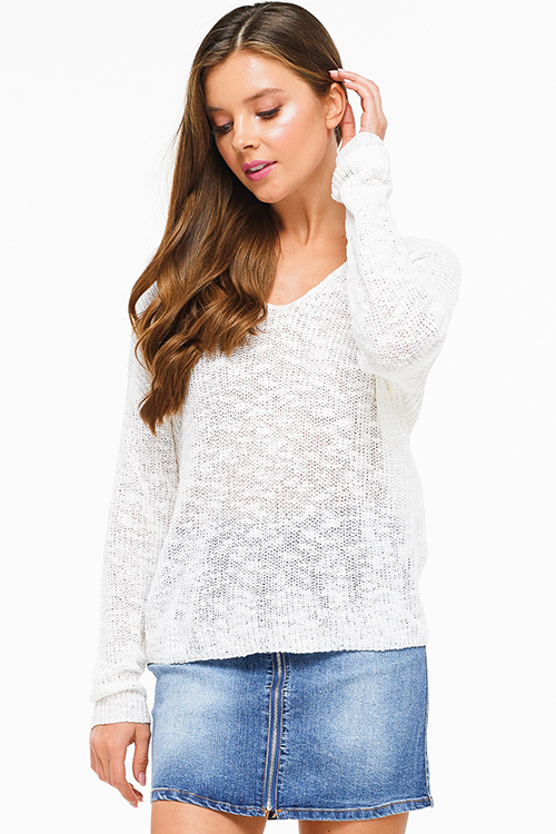Cute cheap Ivory white knit long sleeve v neck twist knotted cut out back boho sweater top