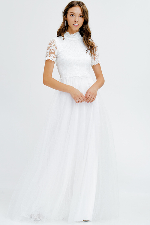 Cute cheap ivory white lace bodice mock neck short sleeve tulle a line formal ball gown evening party dress