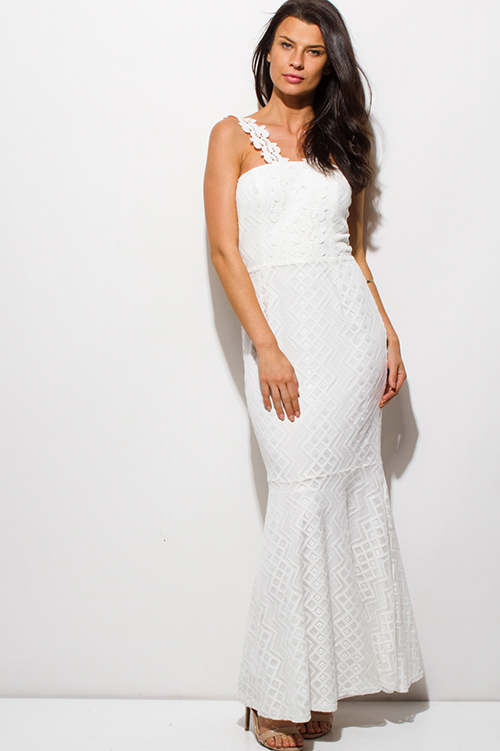 Cute cheap ivory white lace scallop lace strap mermaid formal evening maxi dress